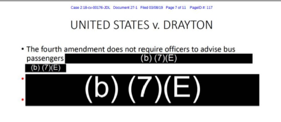 Screenshot of Internal CBP document referencing Supreme Court case United States v. Drayton, saying the fourth amendment does not require officers to advise bus passengers followed by several redacted statements.