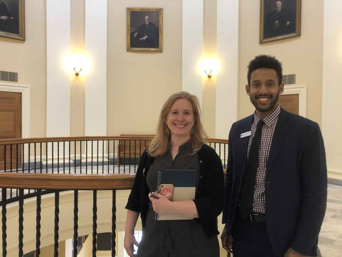 Meagan Sway and Michael Kebede at the Maine State House