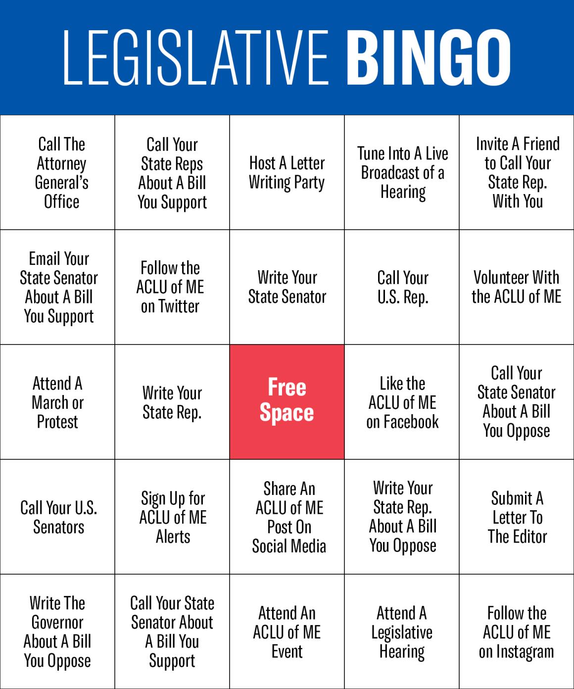 Legislative Bingo Card