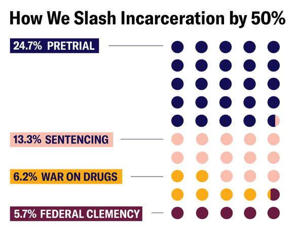 Infographic Title: How We Slash Incarceration by 50% Data: 24.7% Pretrial, 13.3% Sentencing, 6.2% War on Drugs, 5.7% Federal Clemency