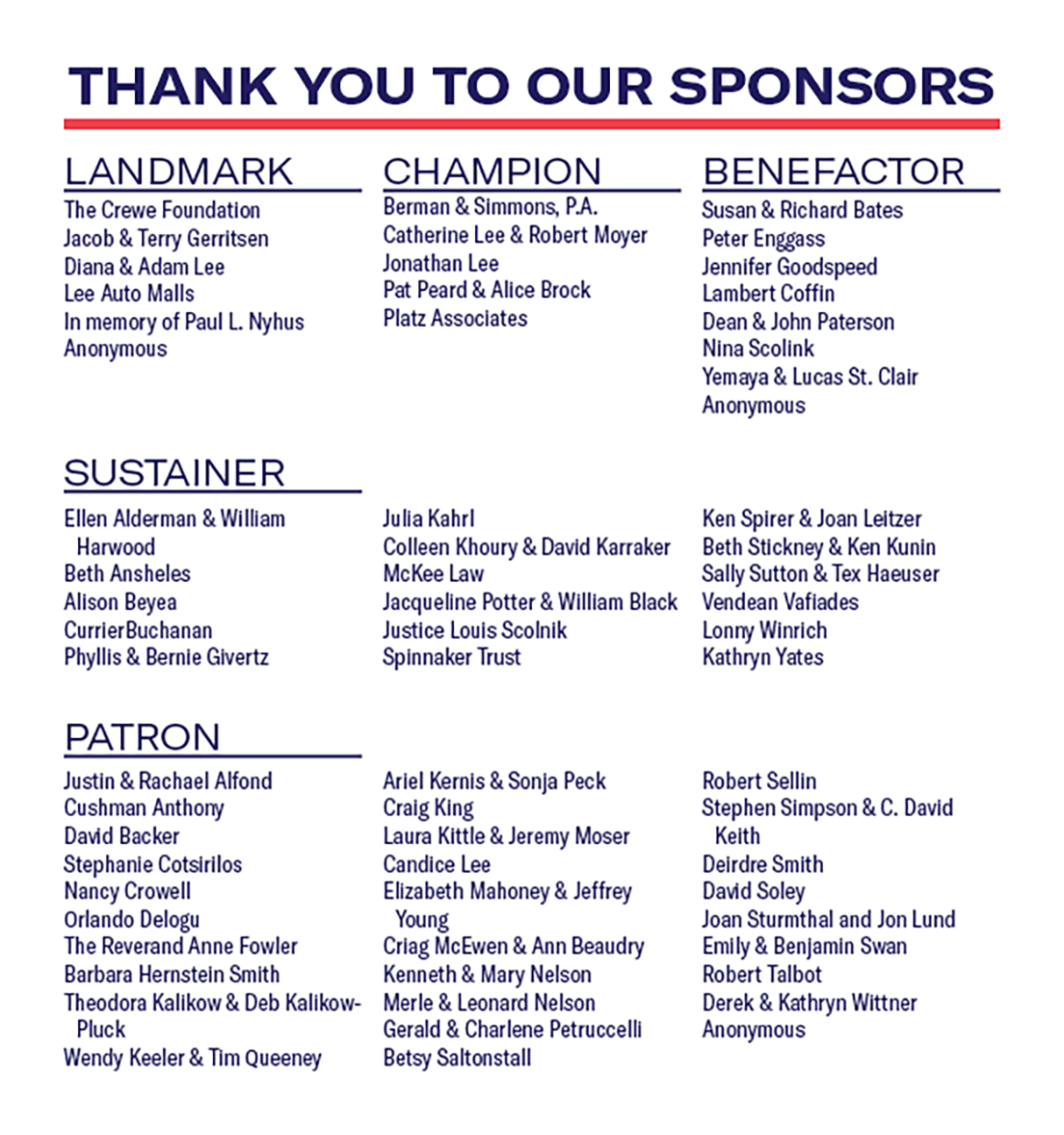 ACLU of Maine Annual Event Sponsors