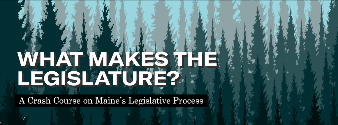 Infographic explaining the make up of the the Maine State Legislature, what kinds of work legislators do, how a bill becomes a law