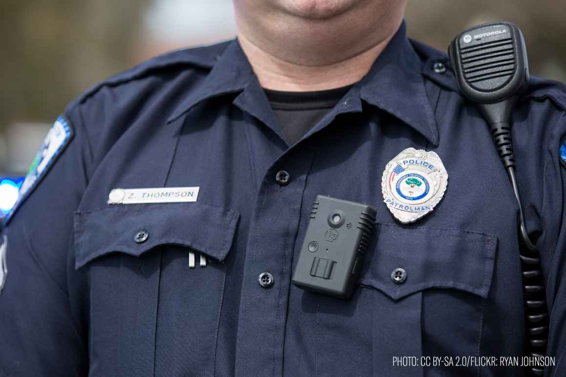 Police officer wearing a body camera