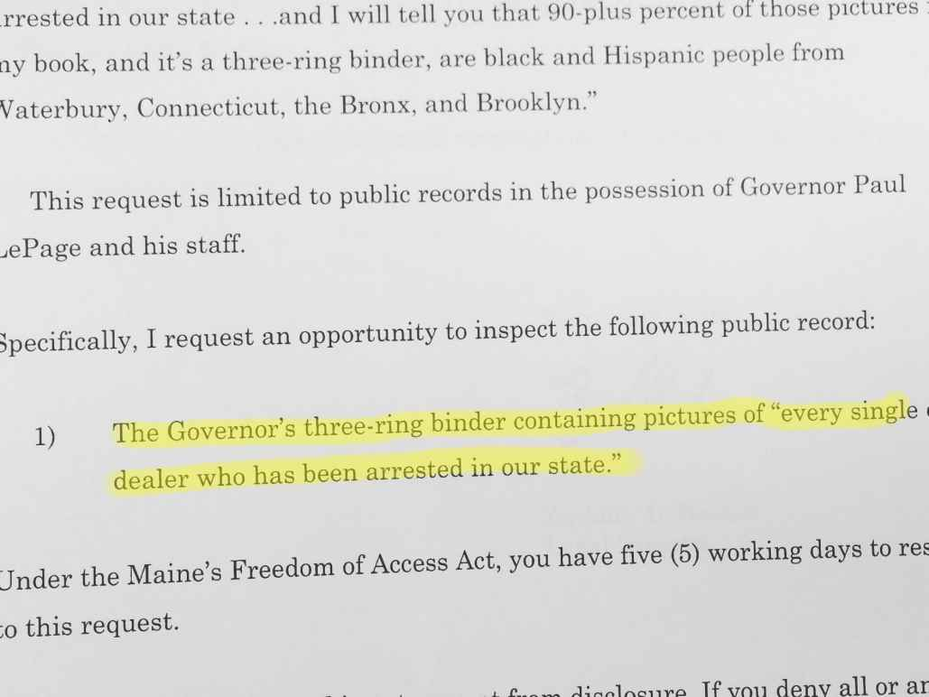 Text from ACLU public records request for govenor's binder of drug arrests