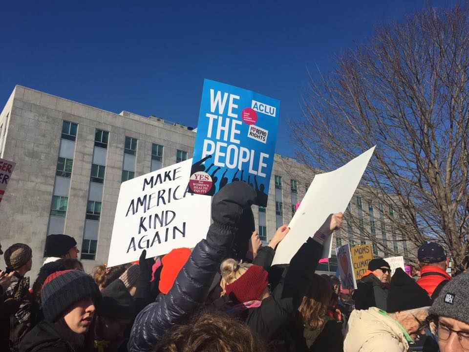 "Sign at Women's March in Augusta that reads ""We the people."""