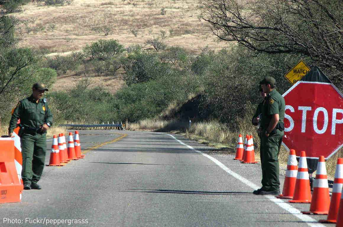 Immigration agents at a border checkpoint