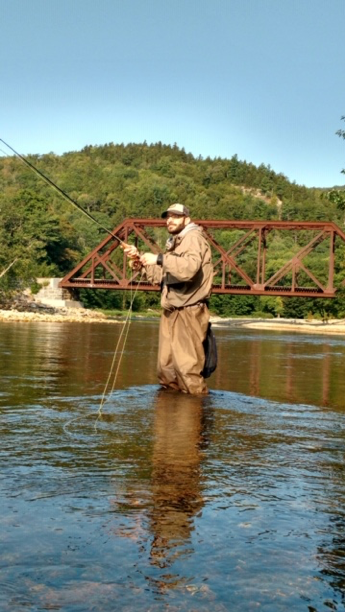 Jesse Drewniak, the plaintiff, photographed fly fishing the day he was illegally stopped by CBP agents at a checkpoint in Woodstock, New Hampshire.