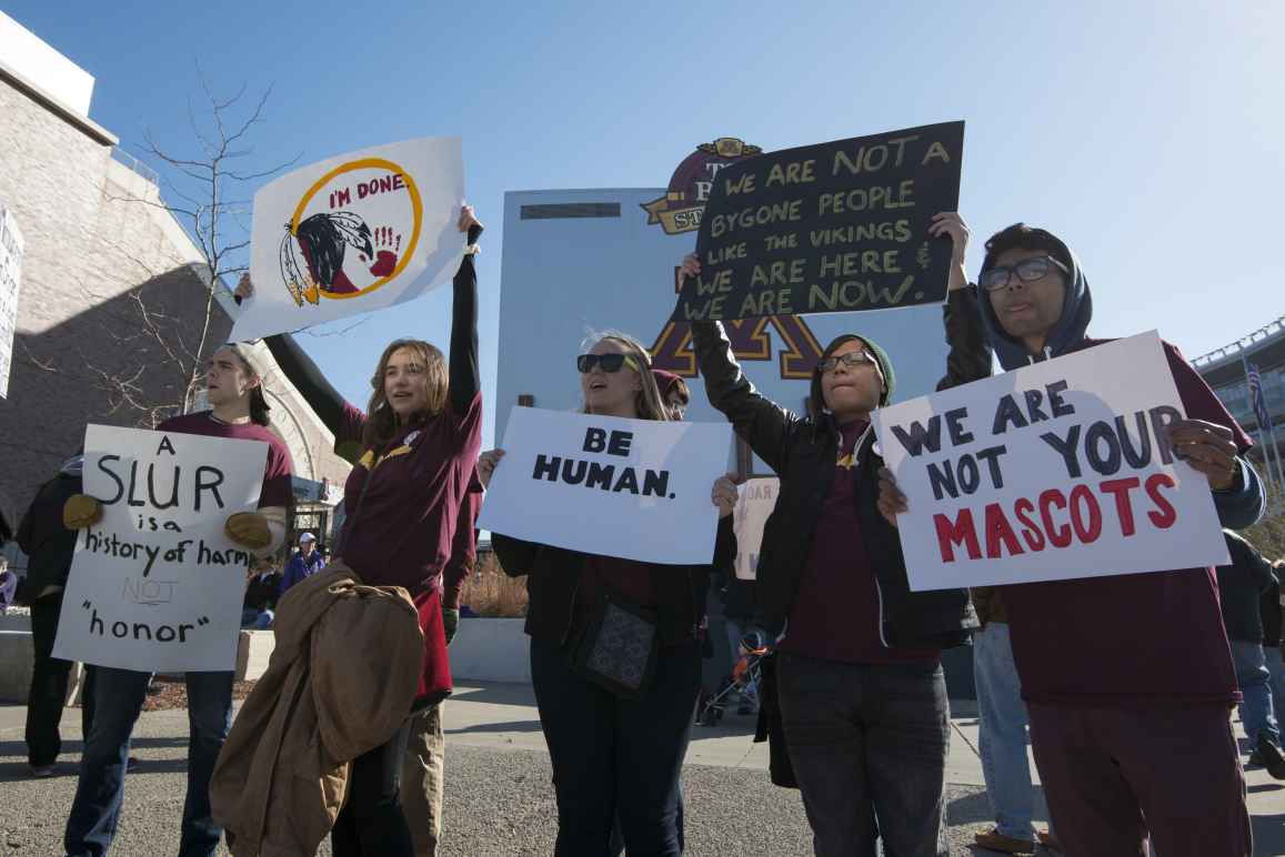 People protest the use of Native Americans as mascots