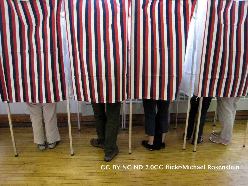 People standing in polling booths on election day