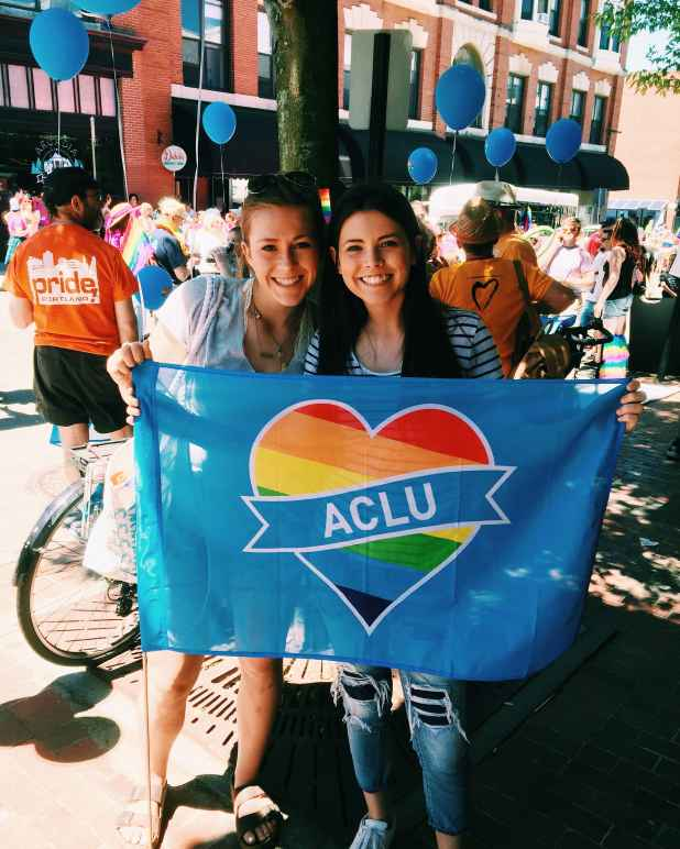 Two young women at the 2016 Pride Portland parade