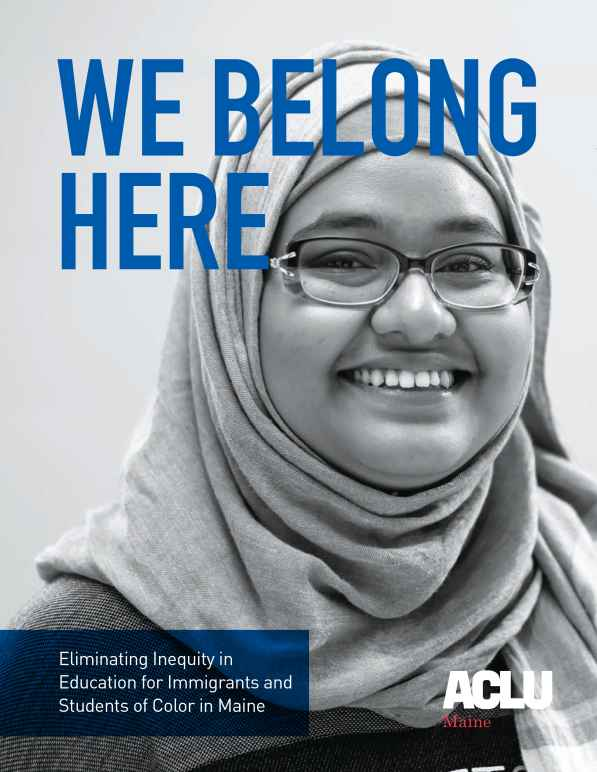 We Belong Here report cover with picture of smiling girl in hijab and glasses