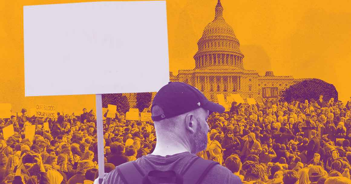 Purple and yellow image with man in baseball cap holding sign at a protest in front of U.S. capitol