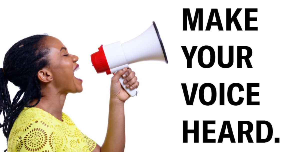 Woman yelling into bullhorn with text Make Your Voice Heard
