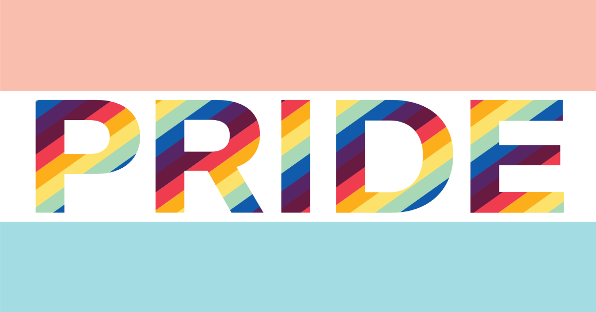 Pride in rainbow font, framed by light pink and blue bars