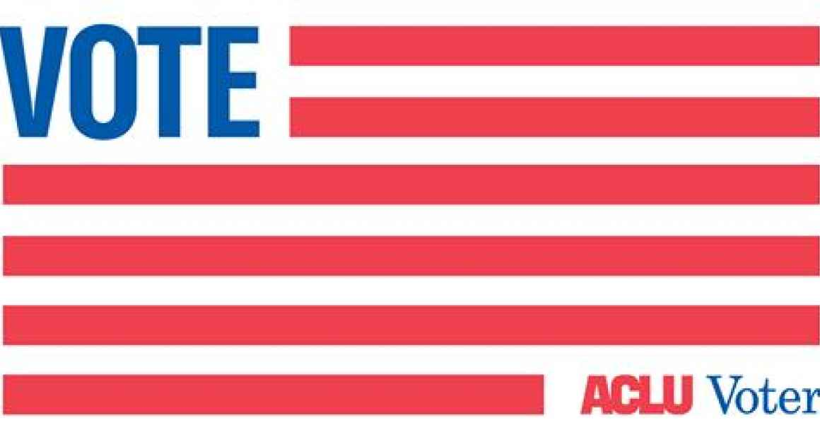 ACLU voter logo with red and white striped flag and blue VOTE in star field