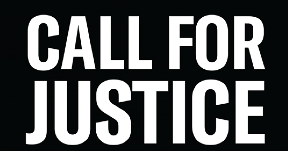 black field with white letters CALL FOR JUSTICE