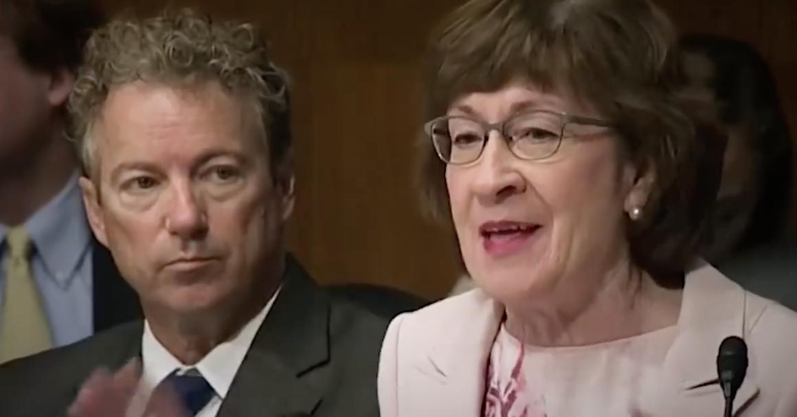 Senator Susan Collins speaking in a Senate committee meeting