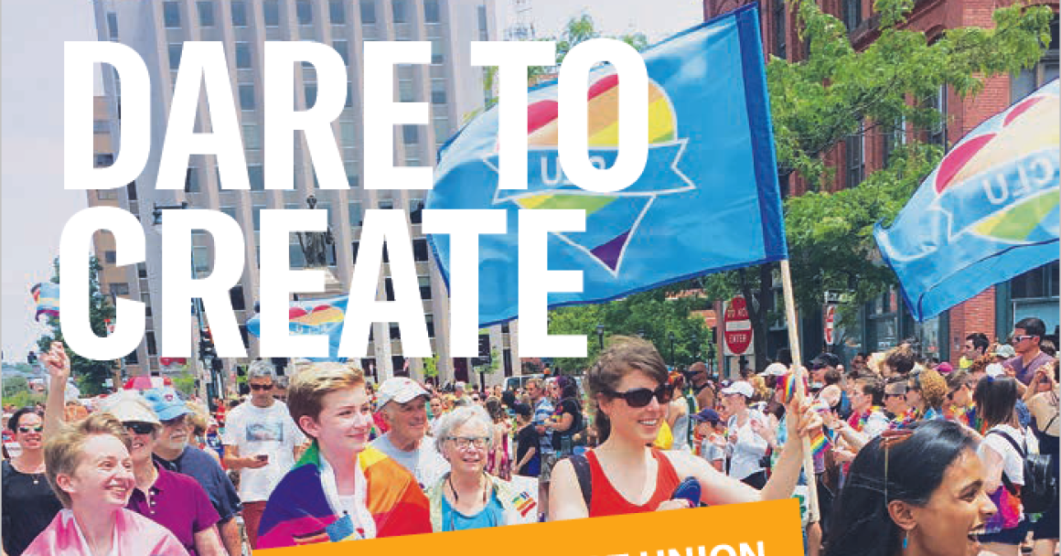 Cropped image of 2018 Annual report cover with people marching and carrying flags at the Portland Pride parade