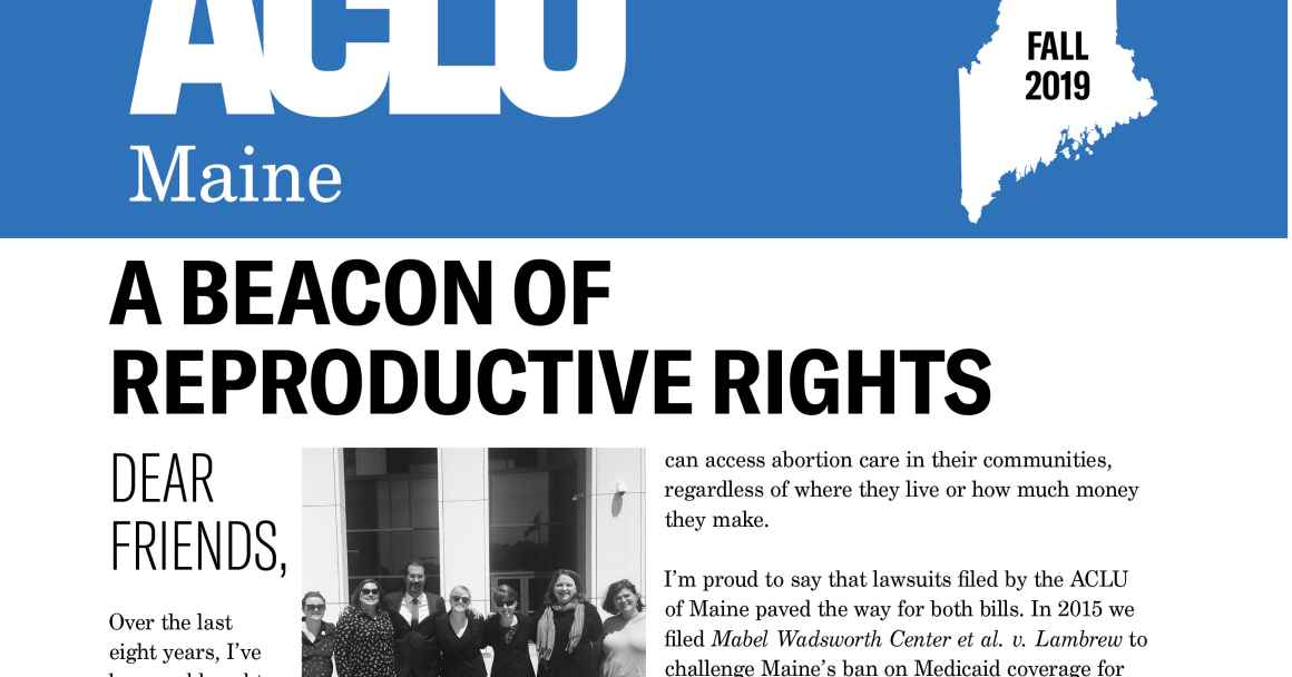 Page 1 of ACLU of Maine Fall 2019 Newsletter
