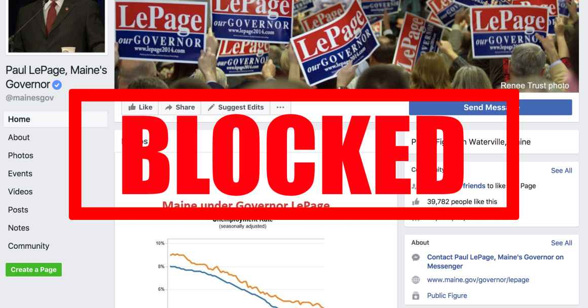 "Image of Gov. Lepage's facebook with red ""BLOCKED"" stamp"
