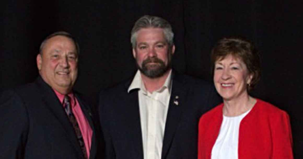 Rep. Jeffrey K. Pierce, center, pictured with Gov. Paul LePage and Sen. Susan Collins in a photo from his campaign.