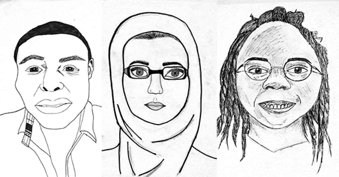 3 black and white portraits by students